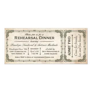 Vintage Rehearsal Dinner Ticket Invitations I