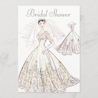 Vintage Retro 1950's Bride and Gown Bridal Shower Invitations