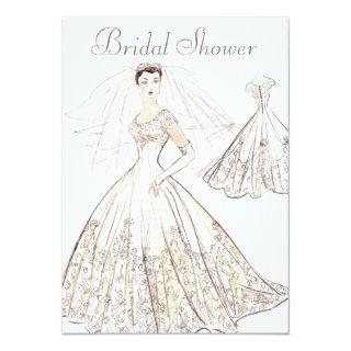 Vintage Retro 1950's Bride and Gown Bridal Shower Invitation