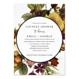VINTAGE RETRO BURGUNDY YELLOW FLORAL COUPLE SHOWER Invitations