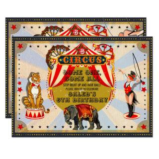 Vintage Retro Circus Birthday Party Invitations