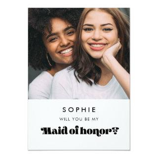 Vintage retro Maid of honor proposal photo card