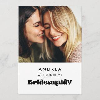 Vintage retro Will you be my bridesmaid photo card