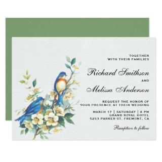 Vintage Romantic Floral Birds Wedding Invitation