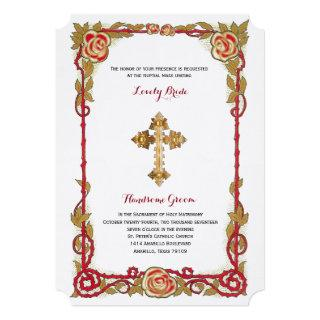 Vintage Rose Cross Catholic Wedding Invitations