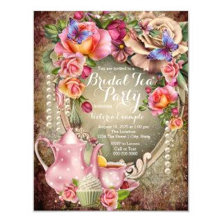 Vintage Rose Pearl Bridal Tea Party Invitation