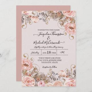 Vintage Rose Pink Watercolor Floral Dried Foliage