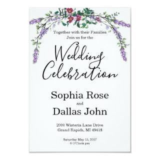Vintage rose with Lavender and Eucalyptus Invitation