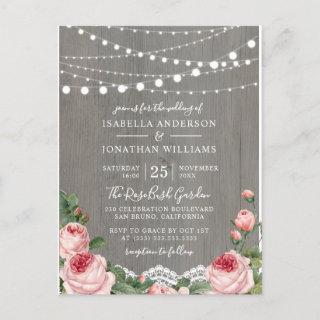 Vintage Roses & Lights Wedding Postcard Invitation