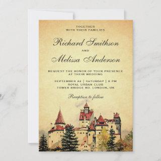 Vintage Royal Fairytale Castle Wedding Invitations