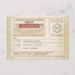 vintage RSVP WEDDING telegrams
