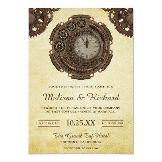 Vintage Rustic Antique Clock Steampunk Wedding Invitations