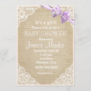 Vintage Rustic Burlap Lace Baby Shower Invitations