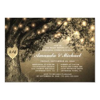 Vintage Rustic Carved Oak Tree Rehearsal Dinner Invitations