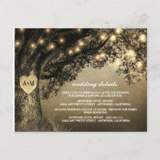 Vintage Rustic Carved Oak Tree Wedding Enclosure Card