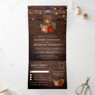 Vintage Rustic Country Floral Wood Lantern Wedding Tri-Fold Invitations