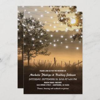 Vintage Rustic Country Lights Wedding Invitations