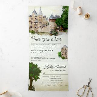 Vintage Rustic Fairytale Castle Story Book Wedding Tri-Fold Invitation