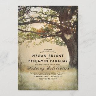 Vintage Rustic Fall Tree String of Lights Wedding Invitations