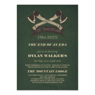 Vintage Rustic Hatchets Bachelor Party Invitations