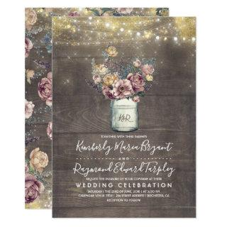Vintage Rustic Mason Jar Mauve and Gold Wedding Invitations