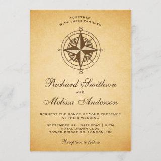 Vintage Rustic Nautical Compass Wedding Invitation