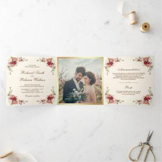 Vintage Rustic Romantic Floral Photo Wedding Tri-Fold Invitations