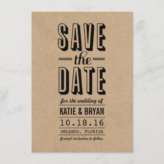 Vintage Rustic Save the Date Card | Kraft Paper