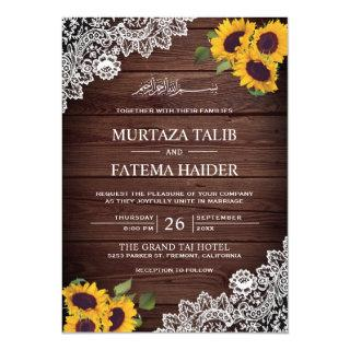 Vintage Rustic Wood Lace Sunflower Islamic Wedding Invitation
