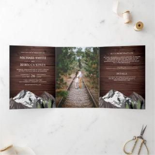 Vintage Rustic Wood Mountain Forest Photo Wedding Tri-Fold Invitations