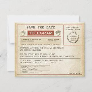 vintage save the date old telegrams