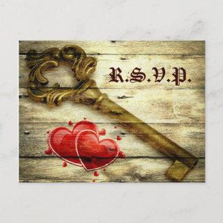 vintage skeleton key victorian steampunk wedding invitation postcard