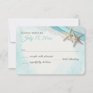 Vintage Starfish Lace and Ocean Blue Ribbon RSVP Card