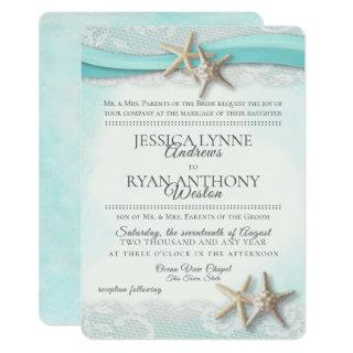 Vintage Starfish Tropical Beach Rustic Invitations