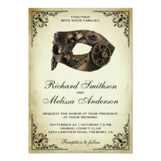 Vintage Steampunk Carnival Mask Masquerade Wedding Invitations