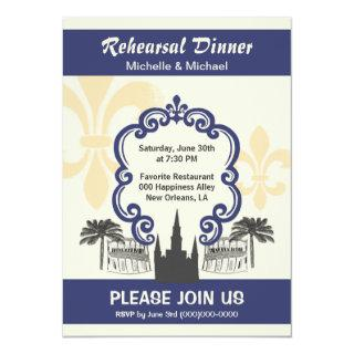 Vintage Style New Orleans Wedding Event Blue Invitations