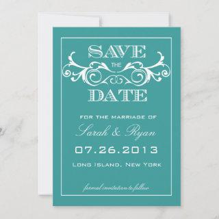 Vintage Swirl Turquoise Save the Date Announcement