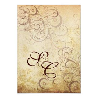 Vintage swirls/faux parchment Wedding Invitations