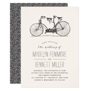 Vintage Tandem Bicycle Wedding Invitations