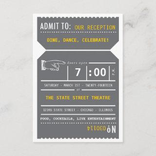 Vintage Theater Ticket Insert in Gray and Yellow Invitations