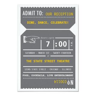Vintage Theater Ticket Insert in Gray and Yellow Invitation