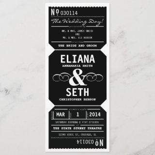 Vintage Theater Ticket Wedding Invitations in Black
