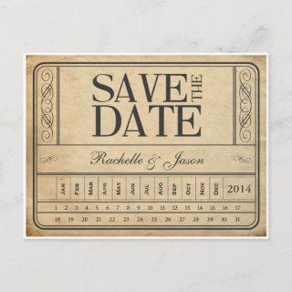 Vintage Ticket II -- Save the date punch out Announcement Postcard