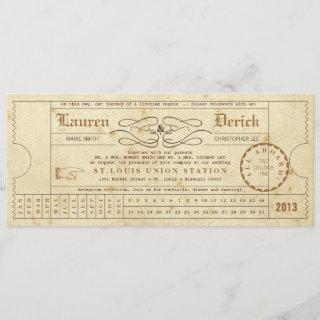 Vintage Ticket Punch Card Tea Length Invitations