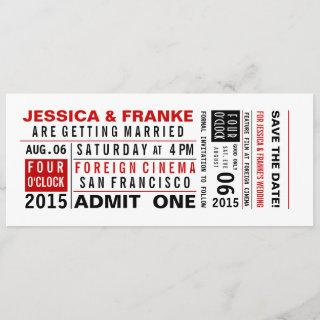 Vintage Ticket Save the Date or Invitations