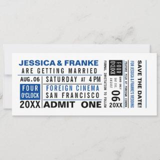 Vintage Ticket Save the Date or Invitations Blue