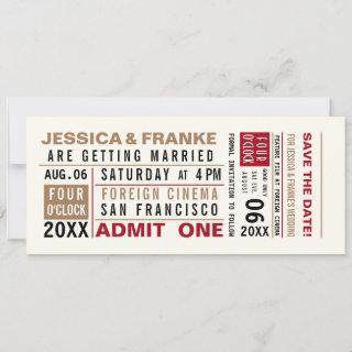 Vintage Ticket Save the Date or Invitation Brown