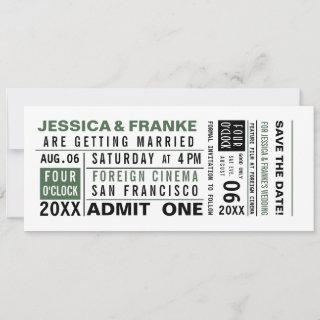 Vintage Ticket Save the Date or Invitation Green