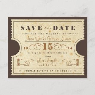 Vintage Ticket Save the Date Postcard