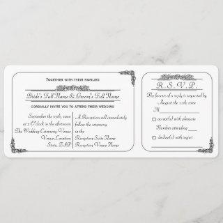 Vintage Ticket Style Wedding  with RSVP